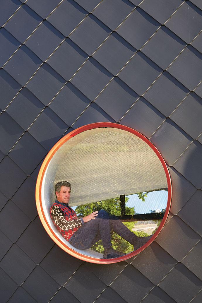 Architect Christof Albertyn enjoys a superlative framed view of the Helderberg.