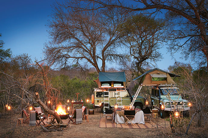 A true camping experience in the bush: A night spent under the stars dining on fine food served on fine linen, sharing stories around the campfire, and falling asleep to the sounds of wild animals.