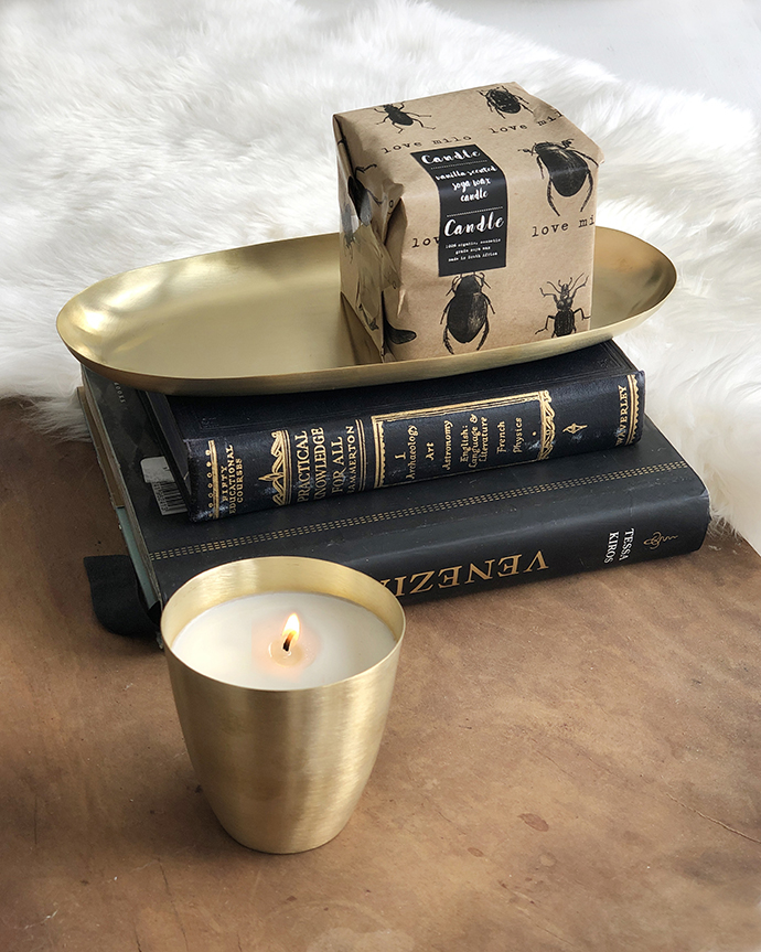 brass candle set box
