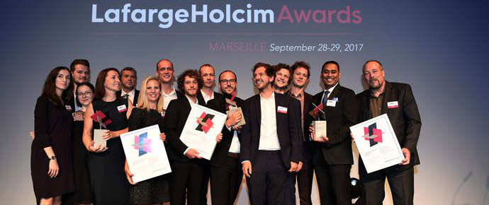 LafargeHolcim Awards 2017 for Europe prize handover ceremony, Marseille, France. Winners celebrate their recognition in the world's most significant competition for sustainable design.