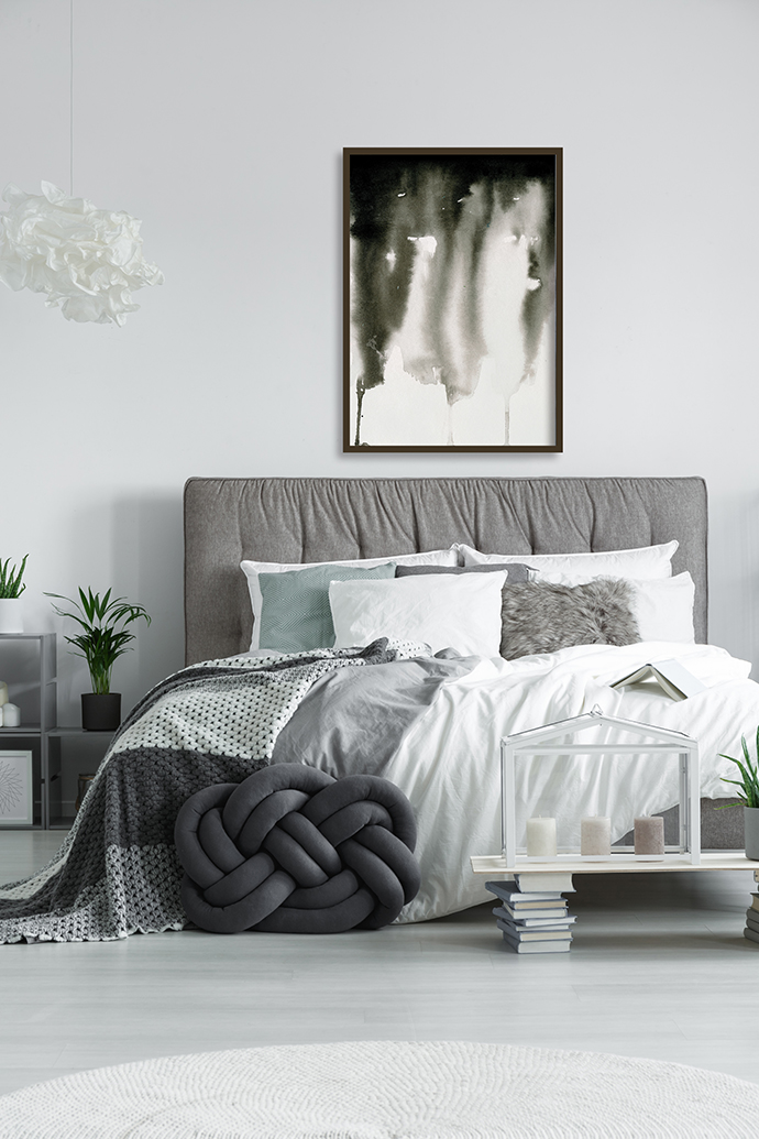 Elegant double bed with pillows