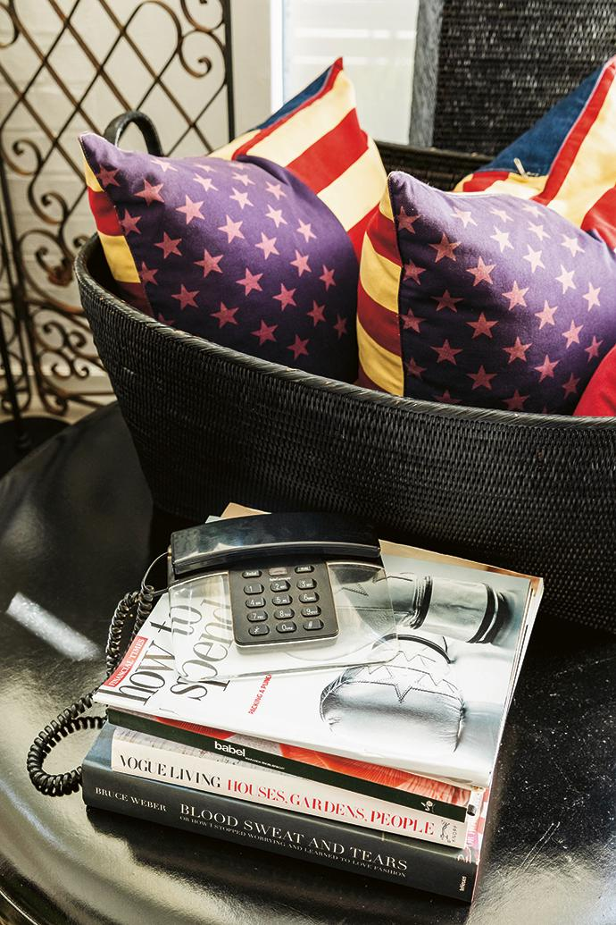 The scatter cushions with American-flag covers are from Hunter Gatherer.