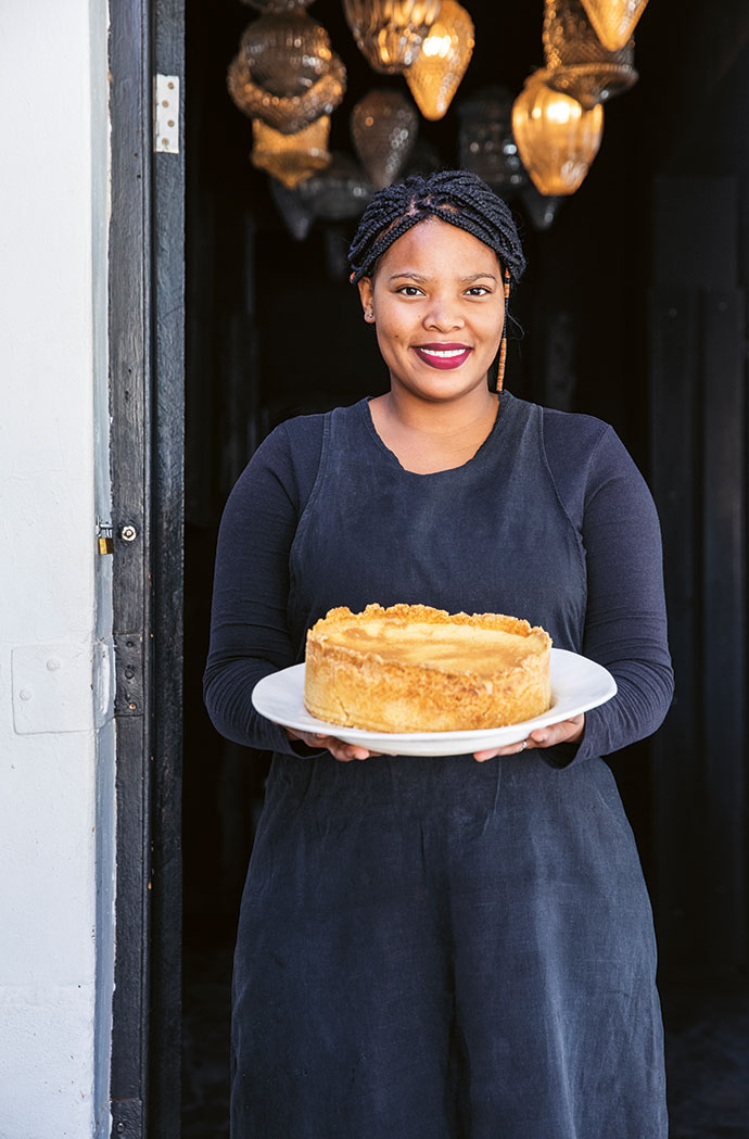 An air of warmth and gasvryheid – this is the Karoo, after all – pervades The Richmond Café & Rooms. Sylvia Johannes holds a milk tart baked by cook Simon Renoster, who prepares local lamb dishes daily for guests who overnight here.