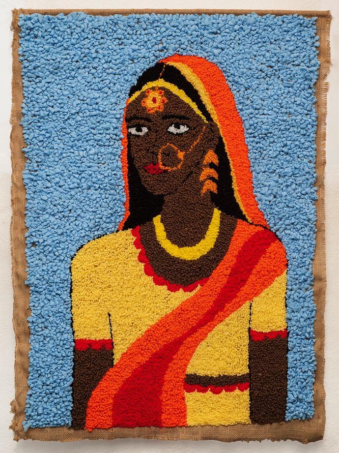 Talia Ramkilawan, Untitled III, 2019, Wool, cloth and Hessian, 91 x 68 cm