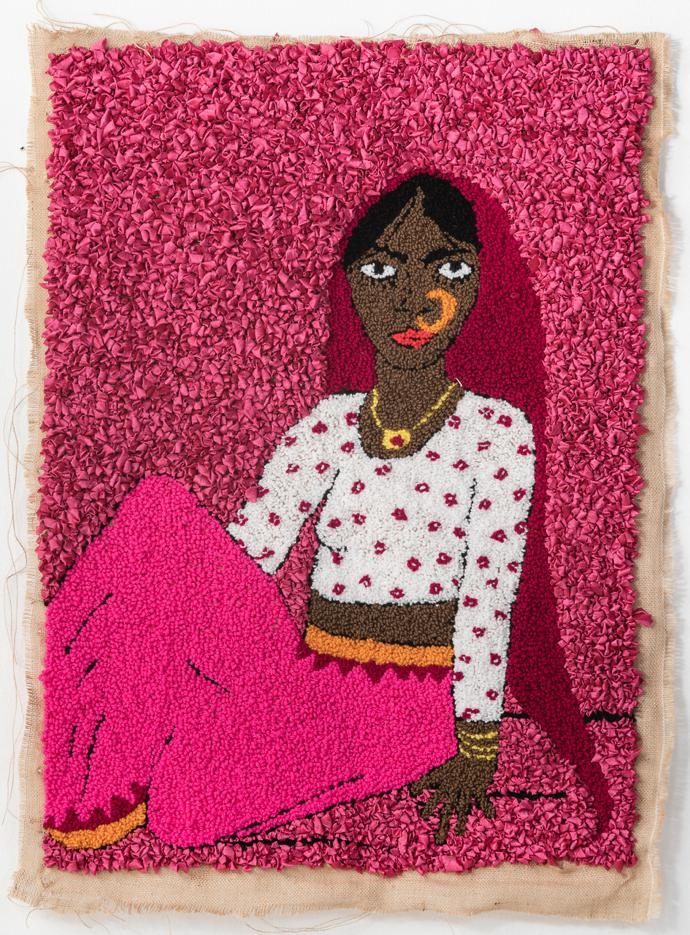 Talia Ramkilawan, Untitled VII, 2019 Wool, cloth and Hessian, 91 x 68 cm