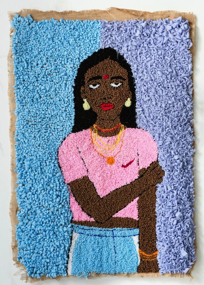 Talia Ramkilawan, Untitled IV, 2019, Wool, cloth and Hessian, 91 x 68 cm