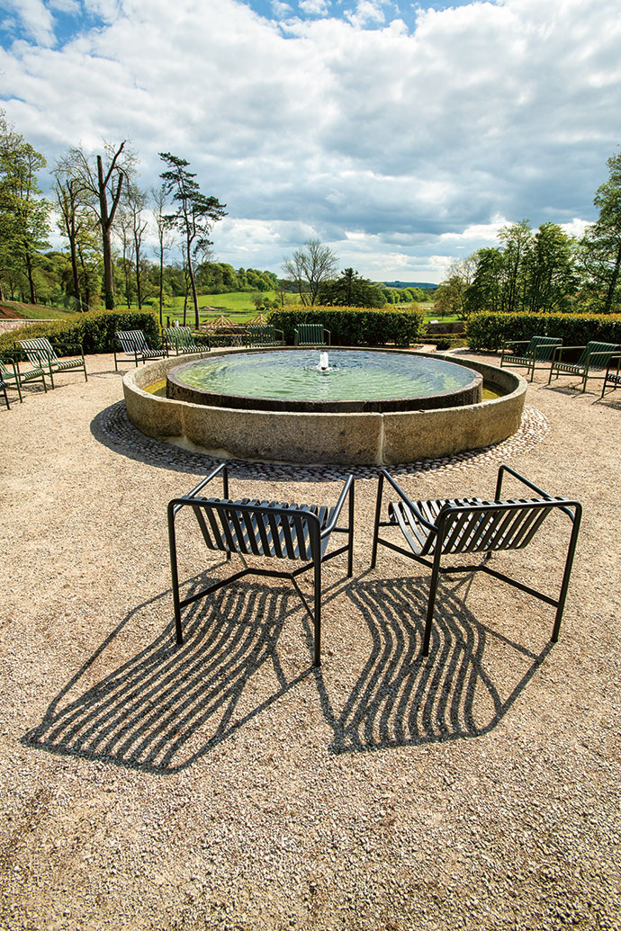 This pond – hauled to the Parabola from elsewhere on the estate – used to be a cider mill in which apples were crushed before the juice was extracted to make cider. The chairs are from the Danish brand HAY's Palissade outdoor furniture collection, available at Créma Design.