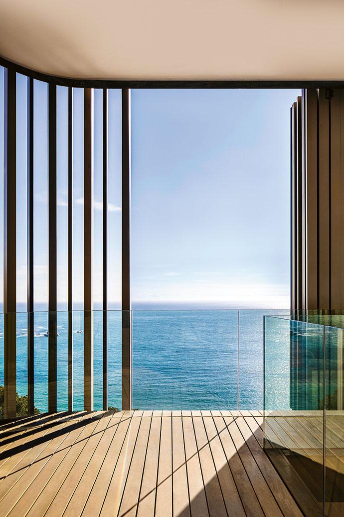 When open, the screened terrace offers sensational views of the Atlantic Ocean.