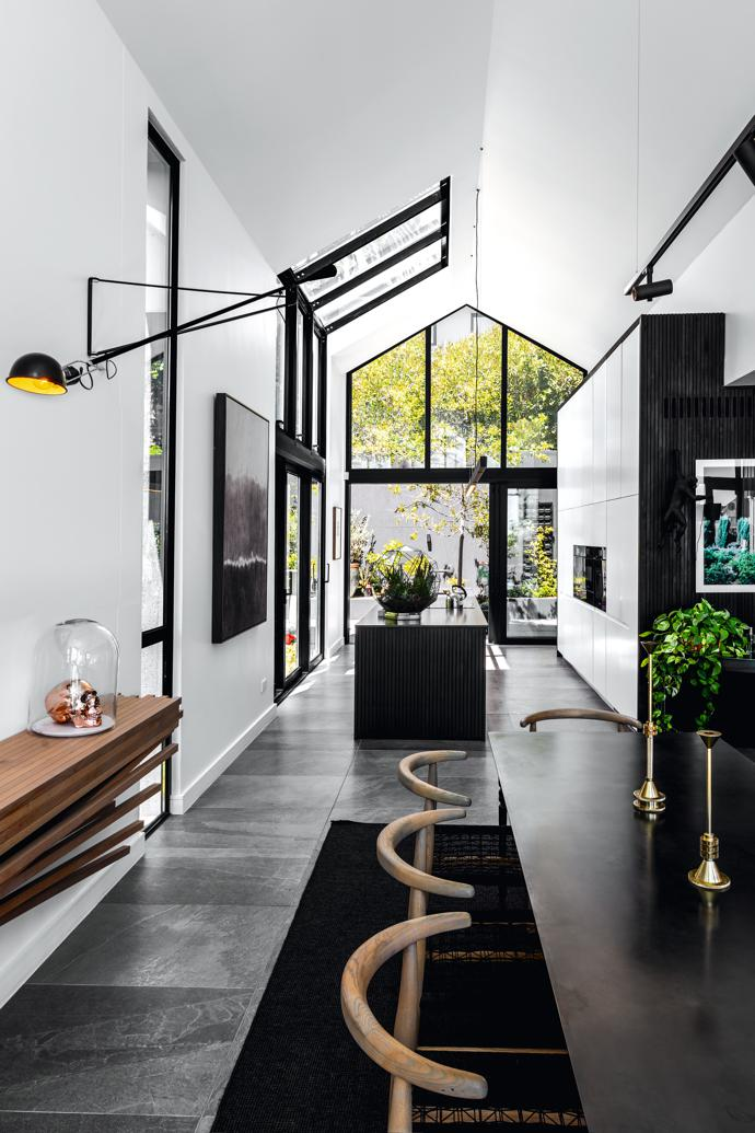 Owner Bradley van den Berg worked with Establishment on the lighting to find fittings that worked with his existing pieces, like the Flos 265 wall lamp, and within the space. He chose Modular Lighting for the kitchen and dining room. The