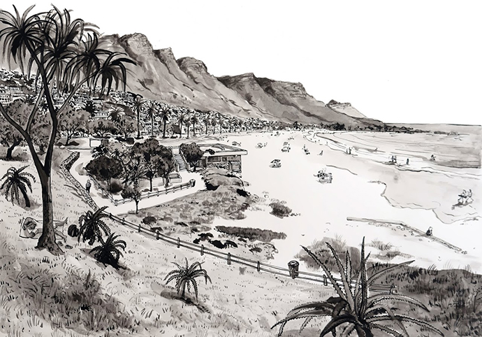 Aloe Camps Bay!, Indian Ink on Saunders Waterford Paper, 46.5 x 34.5cm