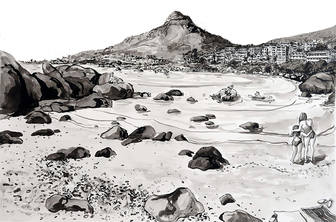 Bakoven Cove, Indian Ink on Saunders Waterford Paper, 46.5 x 34.5cm