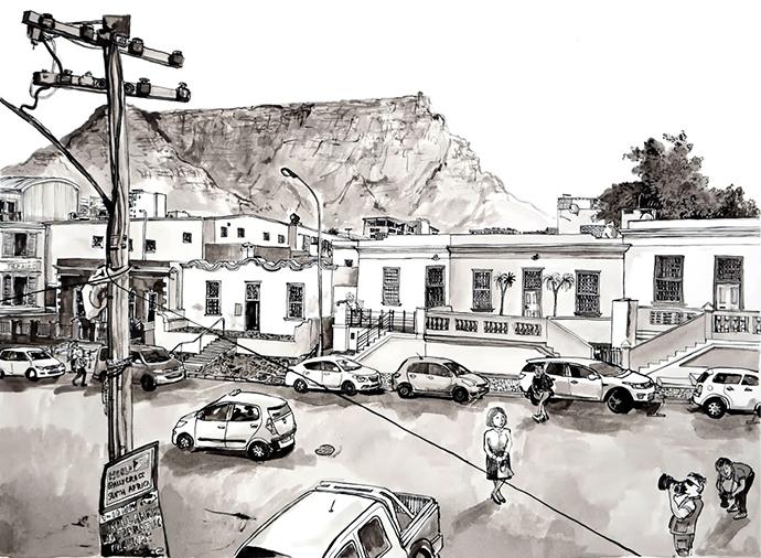 Bo Kaap Museum, Indian Ink on Saunders Waterford Paper, 46.5 x 34.5cm