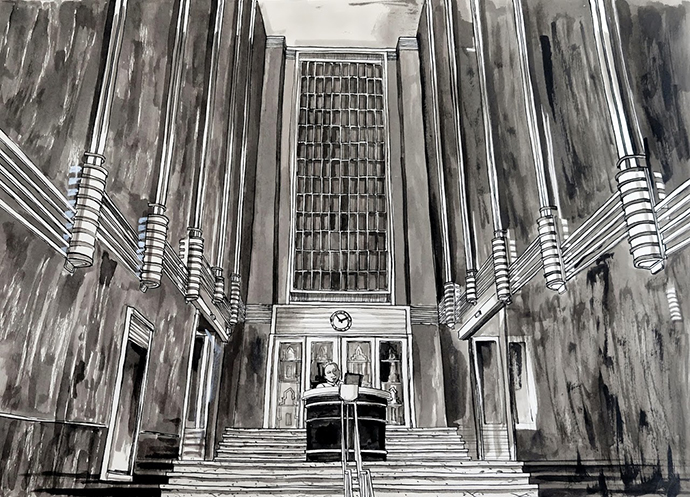 Mutual Heights Foyer, Indian Ink on Saunders Waterford Paper, 46.5 x 34.5cm