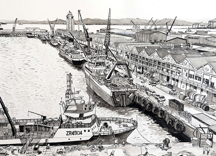 Cape Town Harbour, Indian Ink on Saunders Waterford Paper, 46.5 x 34.5cm