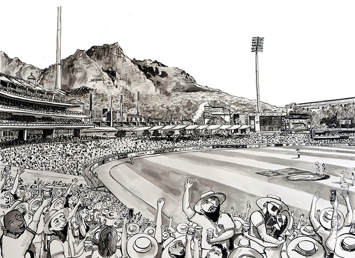 Newlands Cricket Ground, Indian Ink on Saunders Waterford Paper, 46.5 x 34.5cm
