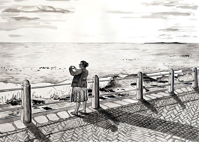 Promenade Picture, Indian Ink on Saunders Waterford Paper, 46.5 x 34.5cm