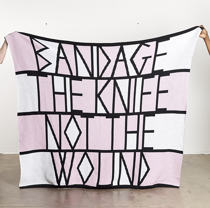 Adam Broomberg & Oliver Chanarin – Bandage the knife not the wound, 2019. 145 (h) x 170 (w) cm. 100% cotton blanket, made in South Africa. Edition of 50. Producer: Something Good Studio.