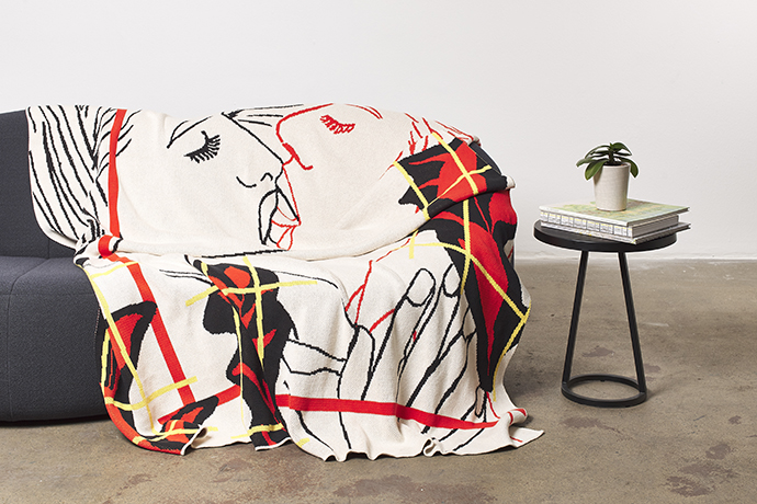 Reza Farkhondeh & Ghada Amer – House of Lust, 2019. 170 (h) x 144 (w) cm. 100% cotton blanket, made in South Africa. Edition of 50. Producer: Something Good Studio.