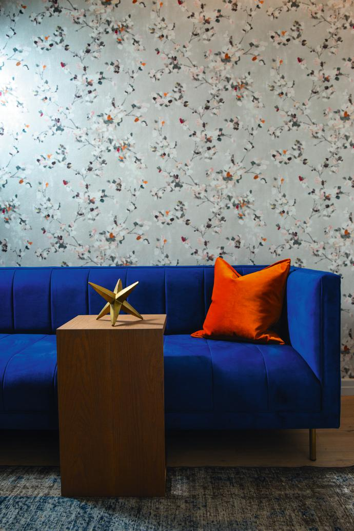 Japanese-inspired Cole and Son wallpaper sourced by SKEP Studio with custom sofa and table by LEON CCIXX.