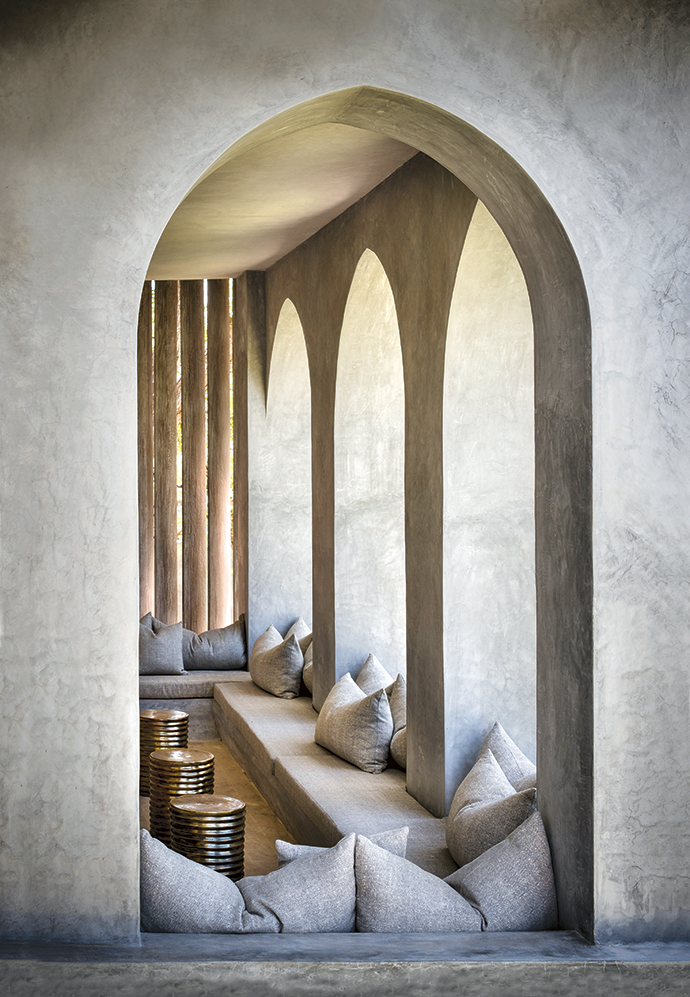 The arched veranda of the master suite creates a cool and private space to watch dhows sailing up and down the coast.