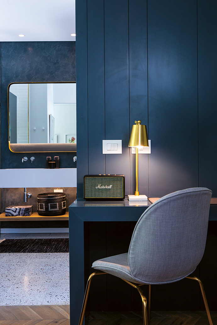Timber, terrazzo and gold finishes have been used in the suites too, which all have different layouts.