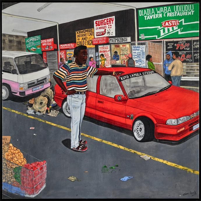 Isaac Zavale – Khuyo lamula Ujesu, 2020. 101 x 101cm. Presented byKalashnikovv Gallery.