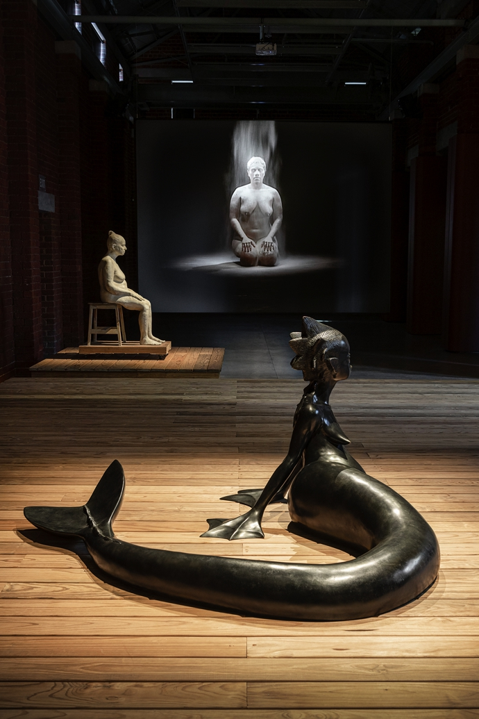 Installation view including Wangechi Mutu, Water Woman (2017); Bharti Kher, Mother (2016); and Berni Searle, Snow White (2001)