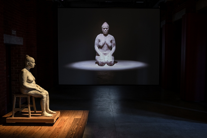 Installation view including Bharti Kher, Mother (2016); and Berni Searle, Snow White (2001)