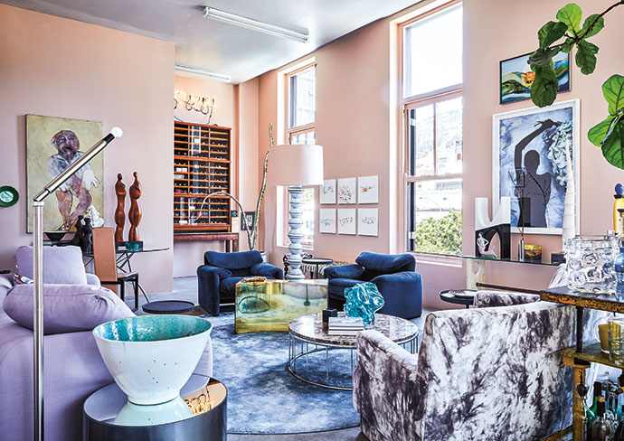 The unapologetically eclectic interior of Malcolm Kluk and Christiaan Gabriel du Toit's Cape Town city apartment. They are the duo behind couture label Klûk CGDT (klukcgdt.com).