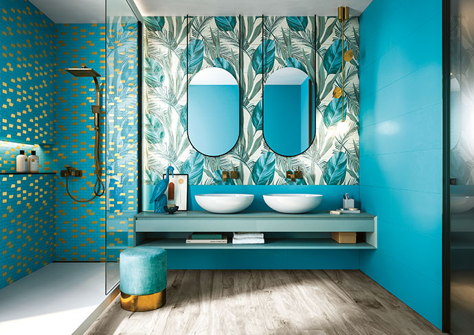Wall: Jade 312mm x 797mm, R713/m2; feature wall: Comp Jungle 624mm x 797mm, R2070 per set (2 tiles); shower: Mos.Decò Jade, R575 per 300mm x 300mm sheet.