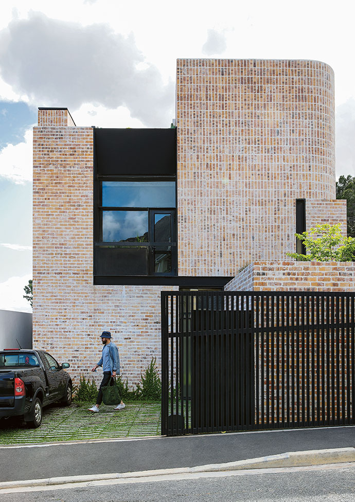 "The exterior bricks have been laid specifically to create patterns and break up the mass of the façade. Standard stock bricks were used throughout because of their colour variations. ""I also liked that they were full-bodied with no holes, so they could be used vertically on corners,"" explains architect Michael Lumby. To soften the yellow tint, the bricks were whitewashed. ""It was an experiment inspired by Christiaan van Aswegen, an architect friend of mine, who had done a similar thing on a house he designed,"" adds Michael."