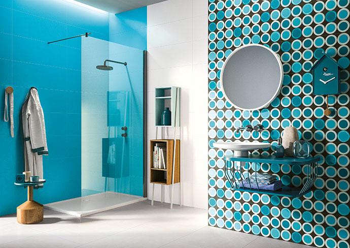 Wall: White 312mm x 797mm, R713/m2; shower: Jade 312mm x 797mm, R713/m2; feature wall: Bubble 312mm x 797mm, R713/m2.