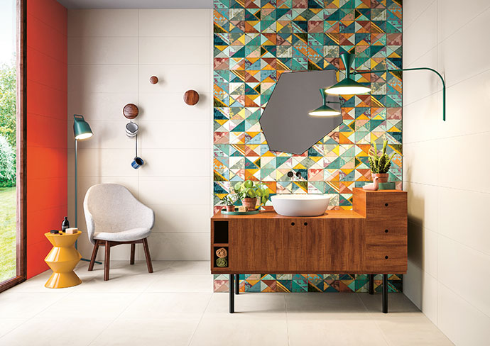 Walls: Brume and Coral 312mm x 797mm, R713/m2; feature wall: Fascia Color 312mm x 797mm, R2070 per set (2 tiles).