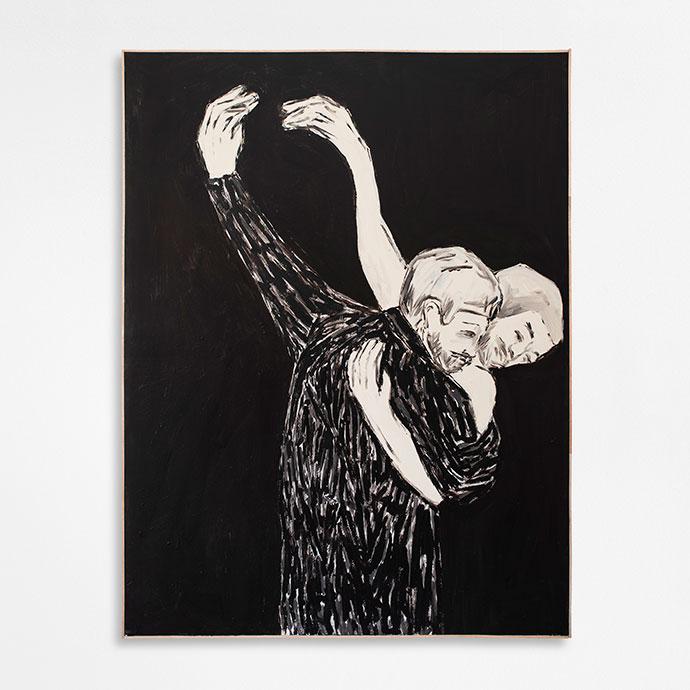 Brett Charles Seiler – I'm Glad To Have Drunk You, 2020. Bitumen roof paint on canvas. 160 x 123 cm.