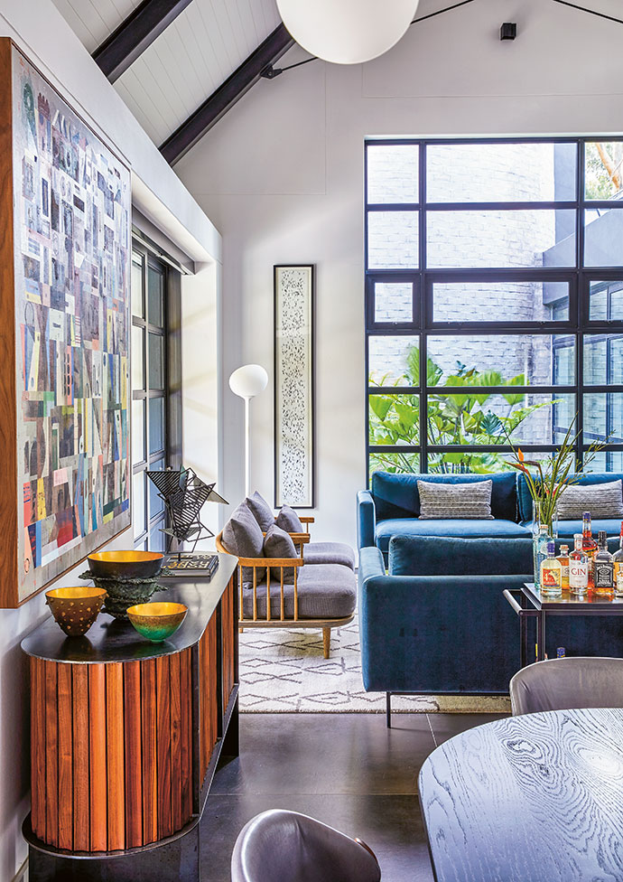 The open-plan living area is filled with local design gems and artworks.