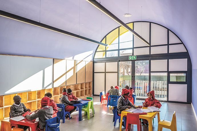 Designed by inner-city architects Local Studio, the Salvazione School in Joburg's Mayfair is a colourful, Mondrian-esque educational sanctuary for the children of Slovo Park.