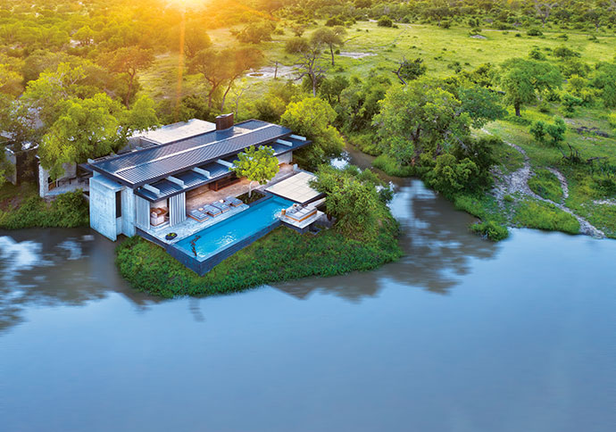 Mapogo House sits on the edge of a wildlife-attracting, hippo-filled dam.