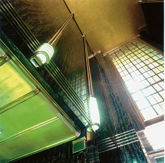 The details in the entrance lobby and boardroom at Mutual Heights are fine examples of Art Deco design.