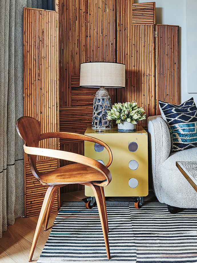 The dice side table is a '60s Brazilian piece sourced from the Gili Factory.