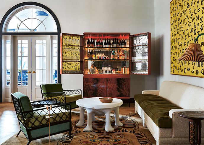 An honour system cocktail cabinet takes pride of place in a corner of the hotel's shared living space.