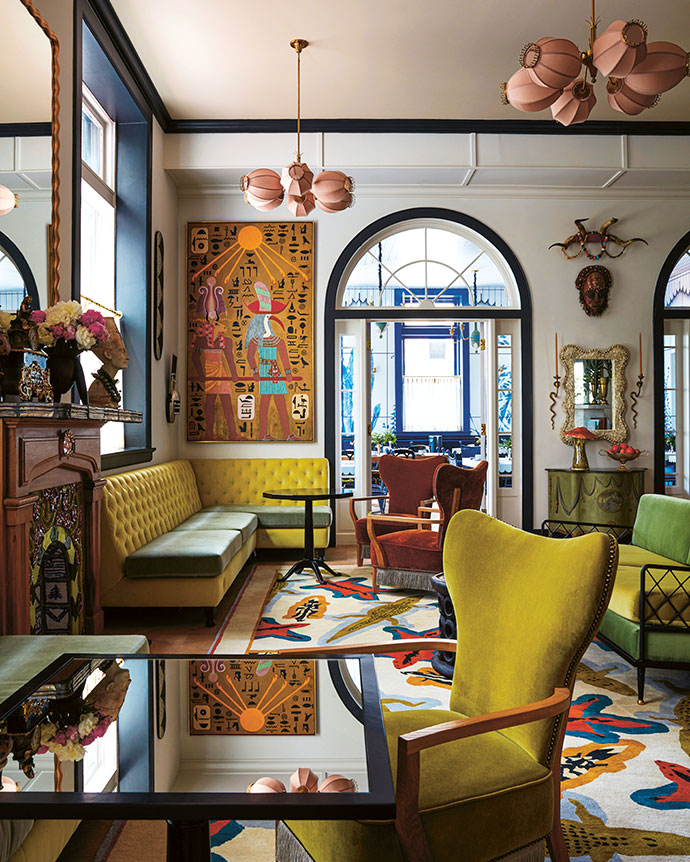 Mix-and-match mythology of a global nature dominates the colourful aesthetic in the hotel's guest lounge. The lighting fixtures drew inspiration from corsetry boning.