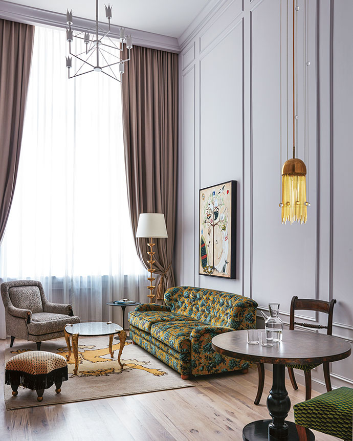 Kelly and Pamela envisaged the bedroom suites as sanctuaries of calm in a city that parties day and night. The colour palette was inspired by the subtlety of clouds, with ethereal inspiration reflected in wind-chime-like pendant lights that tinkle as they move.