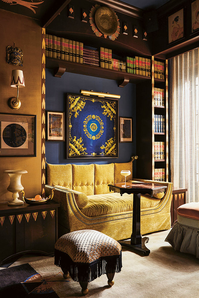 Accessed through a hidden bookcase door in Bar Marilou, the private salon is intimate and offers hotel guests respite from the busier bar. Its decor is a celebration of Southern darkness and mysticism, with celestial and astrological motifs adding character and charm.