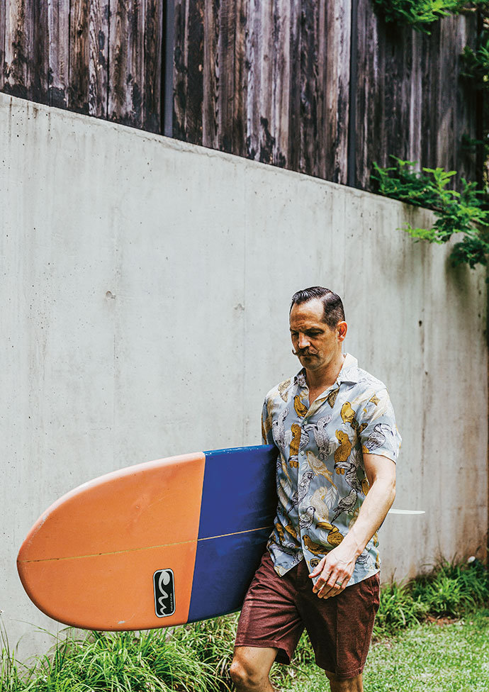 Will surfs whenever he can, and collects surfboards – most, including this one, are from Natural Curve, and are shaped by Hugh Thompson.