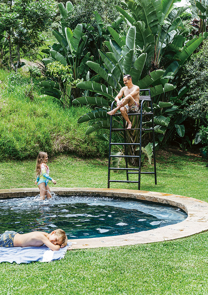 """The pool was designed by Will and built from concrete by Karl Wang of KR Projects. The """"lifeguard chair"""" is an old tennis umpire's chair from Lisa's primary school."""