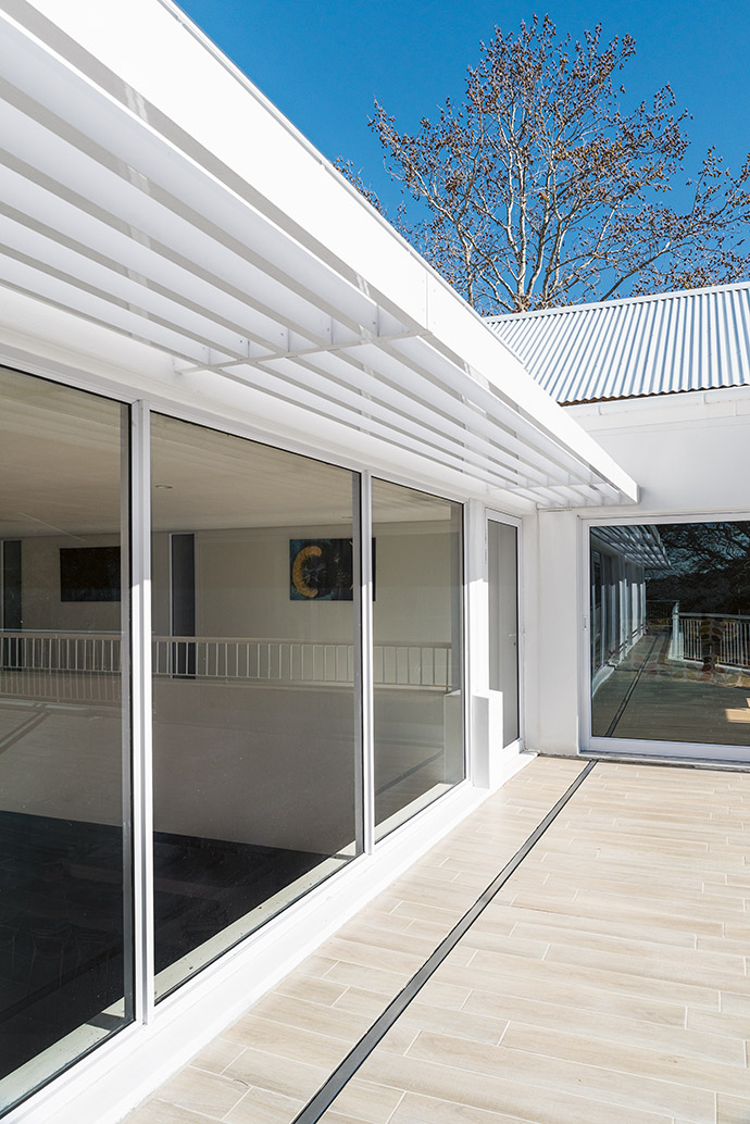 The private deck is an extension of the living spaces.