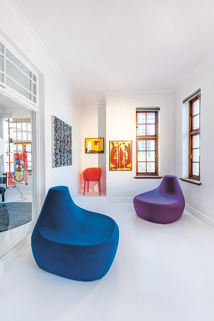 This room in THEFOURTH is alive with colour, with artworks by Farai Engelbrecht, Benjamin Reisner and Johno Mellish. The red Papyrus chair by Ronan and Erwan Bouroullec for Kartell and blue and purple Saruyama settees by Toshiyuki Kita for Moroso (courtesy of True Design) add vibrancy to the exhibition space.