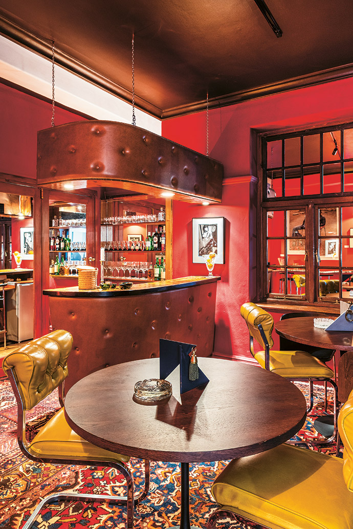 The Negroni Bar at THEFOURTH is an eclectic mix of furniture finds.