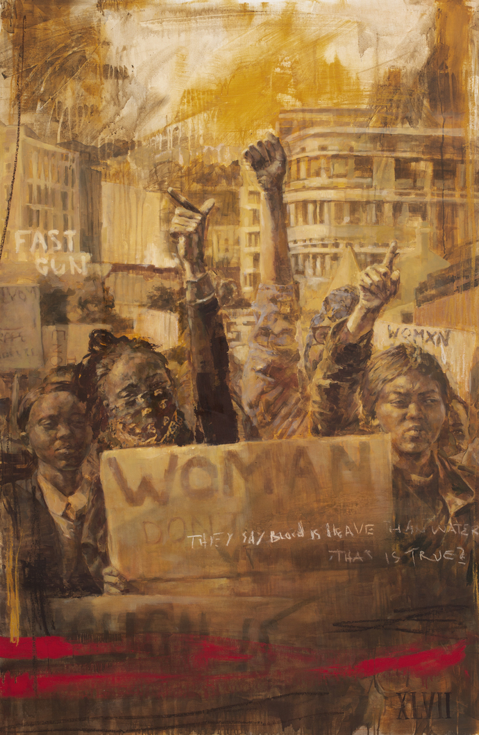 FAITH XLVII THEY SAY BLOOD IS HEAVIER THAN WATER OIL ON CANVAS inspired by photos by Nicky Newman of protests against gender based violence in Cape Town