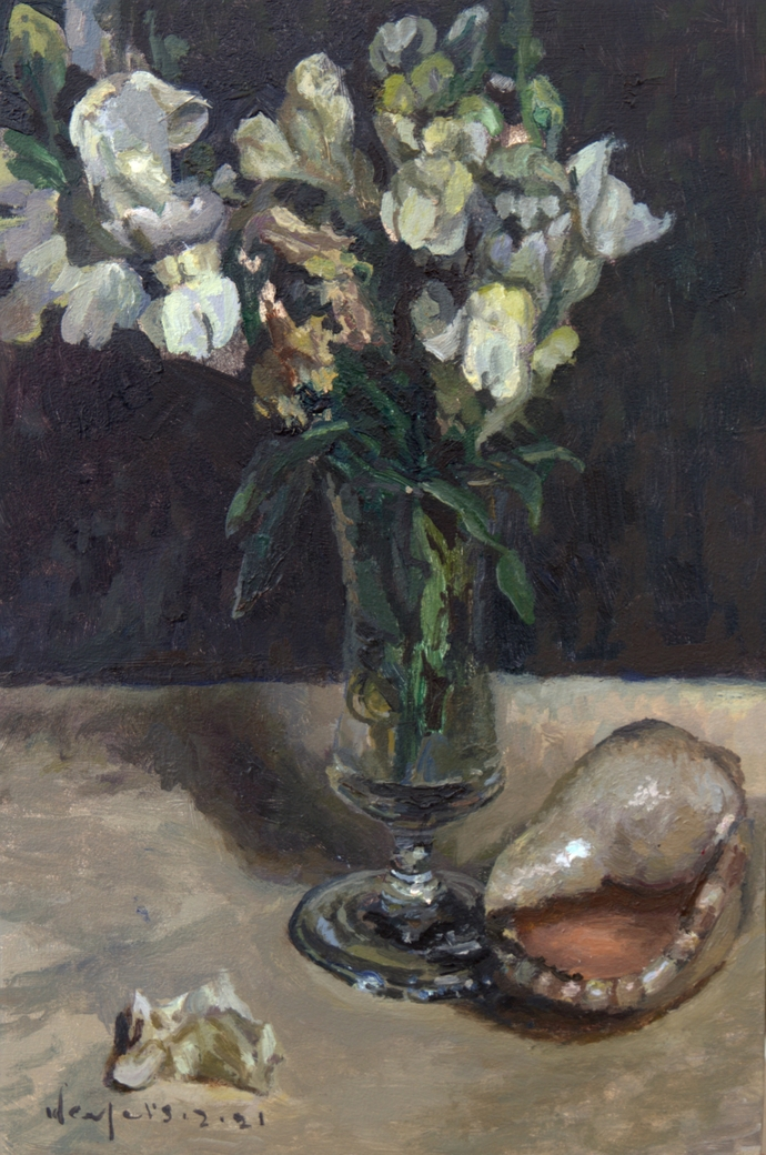 Still Life with White Snapdragons